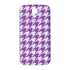 Houndstooth1 White Marble & Purple Denim Samsung Galaxy S4 I9500/i9505  Hardshell Back Case