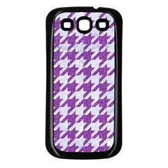 Houndstooth1 White Marble & Purple Denim Samsung Galaxy S3 Back Case (black)