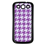 HOUNDSTOOTH1 WHITE MARBLE & PURPLE DENIM Samsung Galaxy S3 Back Case (Black) Front