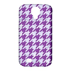 Houndstooth1 White Marble & Purple Denim Samsung Galaxy S4 Classic Hardshell Case (pc+silicone) by trendistuff
