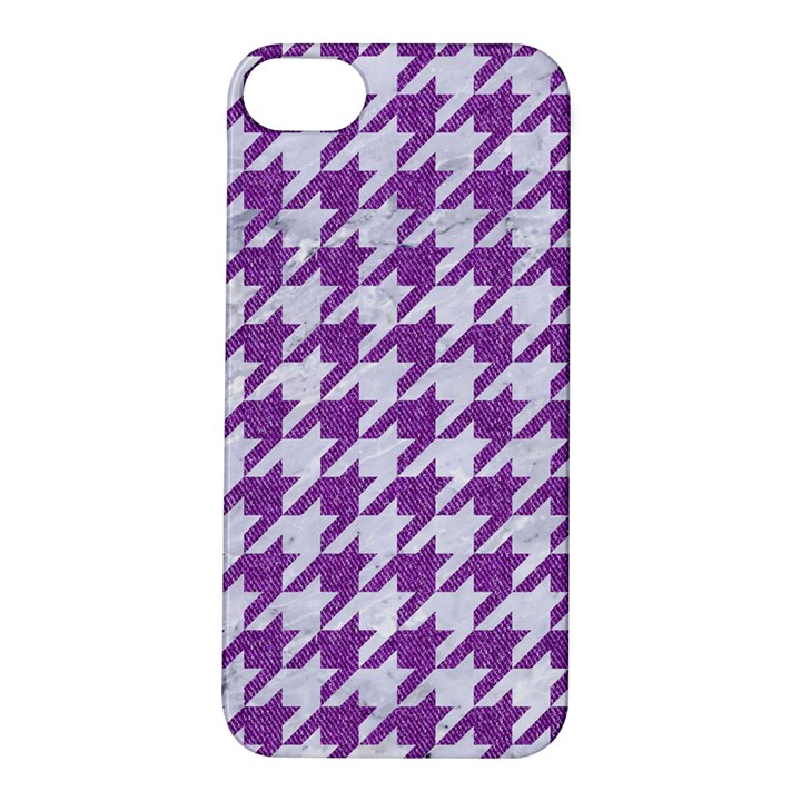 HOUNDSTOOTH1 WHITE MARBLE & PURPLE DENIM Apple iPhone 5S/ SE Hardshell Case