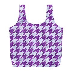 Houndstooth1 White Marble & Purple Denim Full Print Recycle Bags (l)