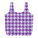 HOUNDSTOOTH1 WHITE MARBLE & PURPLE DENIM Full Print Recycle Bags (L)  Front