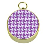 HOUNDSTOOTH1 WHITE MARBLE & PURPLE DENIM Gold Compasses Front