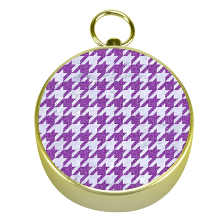 HOUNDSTOOTH1 WHITE MARBLE & PURPLE DENIM Gold Compasses