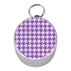 Houndstooth1 White Marble & Purple Denim Mini Silver Compasses by trendistuff