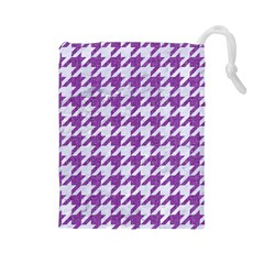 Houndstooth1 White Marble & Purple Denim Drawstring Pouches (large)  by trendistuff