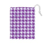 HOUNDSTOOTH1 WHITE MARBLE & PURPLE DENIM Drawstring Pouches (Large)  Front
