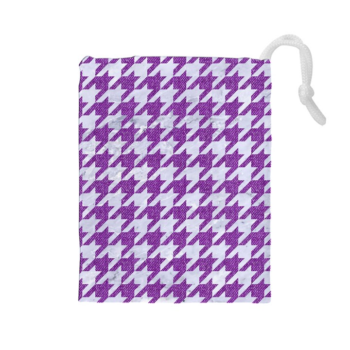 HOUNDSTOOTH1 WHITE MARBLE & PURPLE DENIM Drawstring Pouches (Large)