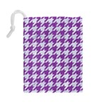 HOUNDSTOOTH1 WHITE MARBLE & PURPLE DENIM Drawstring Pouches (Large)  Back