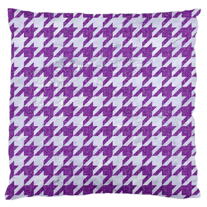 HOUNDSTOOTH1 WHITE MARBLE & PURPLE DENIM Standard Flano Cushion Case (One Side)