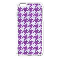 Houndstooth1 White Marble & Purple Denim Apple Iphone 6 Plus/6s Plus Enamel White Case by trendistuff