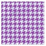 HOUNDSTOOTH1 WHITE MARBLE & PURPLE DENIM Large Satin Scarf (Square) Front