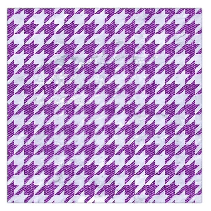 HOUNDSTOOTH1 WHITE MARBLE & PURPLE DENIM Large Satin Scarf (Square)