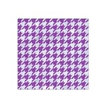 HOUNDSTOOTH1 WHITE MARBLE & PURPLE DENIM Satin Bandana Scarf Front