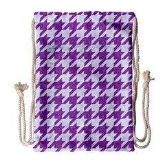 Houndstooth1 White Marble & Purple Denim Drawstring Bag (large) by trendistuff
