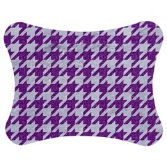 Houndstooth1 White Marble & Purple Denim Jigsaw Puzzle Photo Stand (bow)