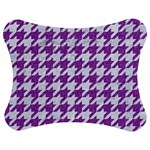 HOUNDSTOOTH1 WHITE MARBLE & PURPLE DENIM Jigsaw Puzzle Photo Stand (Bow) Front