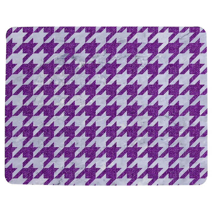 HOUNDSTOOTH1 WHITE MARBLE & PURPLE DENIM Jigsaw Puzzle Photo Stand (Rectangular)