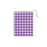 HOUNDSTOOTH1 WHITE MARBLE & PURPLE DENIM Drawstring Pouches (XS)  Front