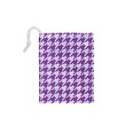 HOUNDSTOOTH1 WHITE MARBLE & PURPLE DENIM Drawstring Pouches (XS)  Back