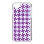 HOUNDSTOOTH1 WHITE MARBLE & PURPLE DENIM Apple iPhone 8 Seamless Case (White) Front