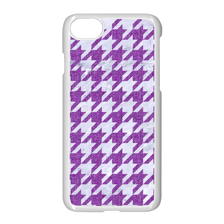 HOUNDSTOOTH1 WHITE MARBLE & PURPLE DENIM Apple iPhone 8 Seamless Case (White)