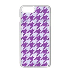 Houndstooth1 White Marble & Purple Denim Apple Iphone 8 Plus Seamless Case (white) by trendistuff