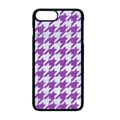 Houndstooth1 White Marble & Purple Denim Apple Iphone 8 Plus Seamless Case (black)