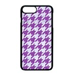 HOUNDSTOOTH1 WHITE MARBLE & PURPLE DENIM Apple iPhone 8 Plus Seamless Case (Black) Front