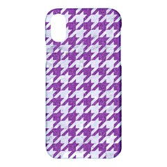 Houndstooth1 White Marble & Purple Denim Apple Iphone X Hardshell Case