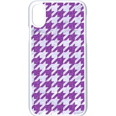 Houndstooth1 White Marble & Purple Denim Apple Iphone X Seamless Case (white)