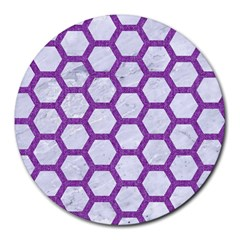 Hexagon2 White Marble & Purple Denim (r) Round Mousepads by trendistuff