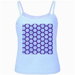HEXAGON2 WHITE MARBLE & PURPLE DENIM (R) Baby Blue Spaghetti Tank Front