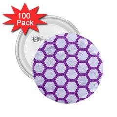 Hexagon2 White Marble & Purple Denim (r) 2 25  Buttons (100 Pack)