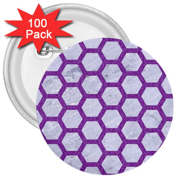 HEXAGON2 WHITE MARBLE & PURPLE DENIM (R) 3  Buttons (100 pack)