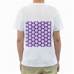 HEXAGON2 WHITE MARBLE & PURPLE DENIM (R) Men s T-Shirt (White) (Two Sided) Back