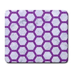 Hexagon2 White Marble & Purple Denim (r) Large Mousepads by trendistuff