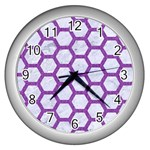 HEXAGON2 WHITE MARBLE & PURPLE DENIM (R) Wall Clocks (Silver)  Front