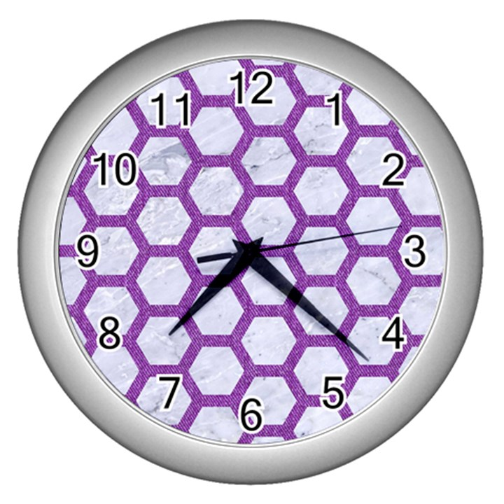 HEXAGON2 WHITE MARBLE & PURPLE DENIM (R) Wall Clocks (Silver)