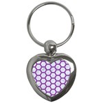 HEXAGON2 WHITE MARBLE & PURPLE DENIM (R) Key Chains (Heart)  Front