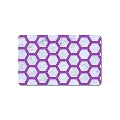 Hexagon2 White Marble & Purple Denim (r) Magnet (name Card) by trendistuff