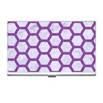 HEXAGON2 WHITE MARBLE & PURPLE DENIM (R) Business Card Holders Front