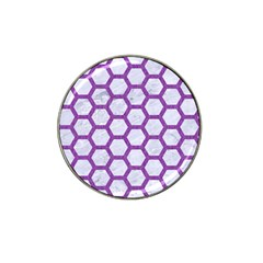 Hexagon2 White Marble & Purple Denim (r) Hat Clip Ball Marker (4 Pack)