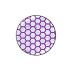 HEXAGON2 WHITE MARBLE & PURPLE DENIM (R) Hat Clip Ball Marker (4 pack) Front