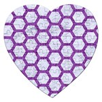 HEXAGON2 WHITE MARBLE & PURPLE DENIM (R) Jigsaw Puzzle (Heart) Front