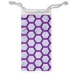 HEXAGON2 WHITE MARBLE & PURPLE DENIM (R) Jewelry Bag Front