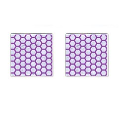 Hexagon2 White Marble & Purple Denim (r) Cufflinks (square)