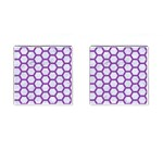HEXAGON2 WHITE MARBLE & PURPLE DENIM (R) Cufflinks (Square) Front