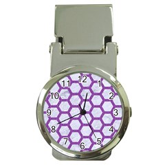Hexagon2 White Marble & Purple Denim (r) Money Clip Watches